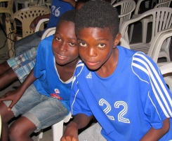 August Town, St. Andrew is not an easy place to live, although the community tries hard to create unity. These two young members of the football team managed a smile for me at a community meeting last year.