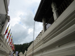 There are many buildings in the Temple of the Sacred Tooth in Kandy, Sri Lanka. Many straight lines, and curved ones in the roofs. Great architecture.