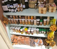 In a vendor's stall, overflowing with spices...in Grenada.