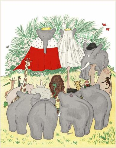 A royal wedding: Babar the Elephant gets married to Celeste, with an audience of animals, mostly now as endangered as the elephants themselves. From the French children's series,the French children's book Histoire de Babar by Jean de Brunhoff, which first appeared in 1931.