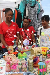 Freetown Primary School students with their pretty, 100% recycled material creations. (Photo: NHMJ)