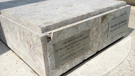 I hope the chips on the corners of the Bustamantes' gravestone have now been repaired.
