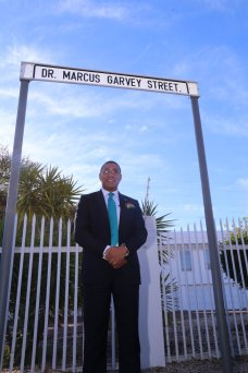 Prime Minister Andrew Holness at the opening of the Dr. Marcus Garvey Street in Windhoek, Namibia. (Photo: Robert Morgan/Twitter)
