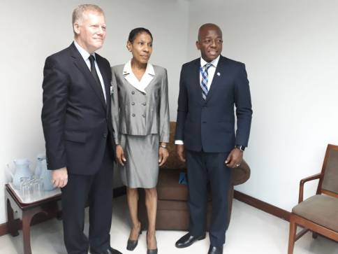 Minister of State in the Ministry of Foreign Affairs and Foreign Trade Senator Pearnel Charles, Jr. (right) at the International Seabed Authority (ISA) General Assembly with President Prof. Mariusz Orion Jedrysek, Secretary General Michael Lodge and Jamaica's Permanent Representative to ISA Dr. Kathy-Ann Brown before his presentation at the 24th Session. (Photo: Pearnel Charles/Twitter)