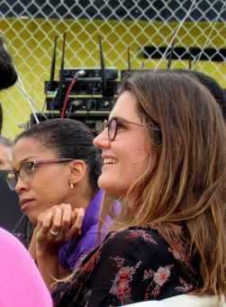 Carmen Rives (right) at a performance of Cervantes that took place at the South Camp Correctional Centre in Kingston, last year. (My photo)