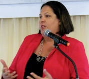 CVSS Chair Saffrey Brown spoke of values aligned with one's leadership credo. Get your values-driven purpose sorted out, she advised the young people. (My photo)