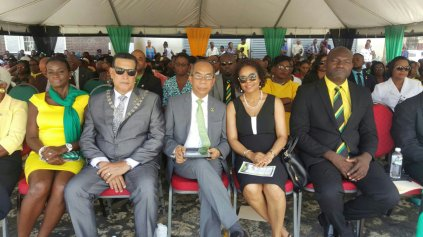Attorney General Marlene Malahoo Forte wears a sleeveless dress at Montego Bay's Independence Day celebrations. Shock, horror!