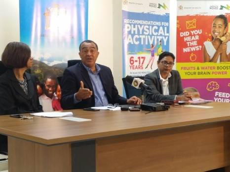 (left to right) Mrs. Sanchia Bennett-Templer, Permanent Secretary; Minister of Health Christopher Tufton; and Chief Medical Officer Dr. Jacqueline Bisasor-McKenzie at the Health Ministry's Quarterly Press Briefing on September 11, 2018. (My photo)