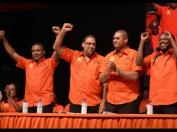 Victory! The four elected Vice Presidents of the PNP (left to right): Two of the old guard - Phillip Paulwell and Wykeham McNeill; and two younger ones, Mikael Phillips and Damion Crawford. (Photo: Ian Allen/Gleaner)