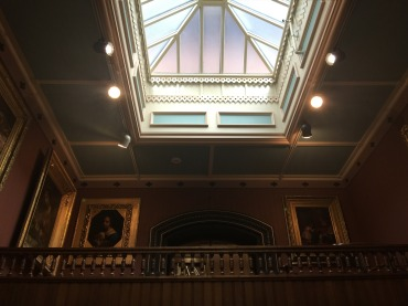 Inside the beautiful public library (with an art gallery in the back) in the St. Johnsbury Atheneum building in Vermont. Founded in 1871, it is a National Historic Landmark.