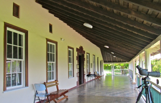 The verandah at Seville Great House, which was was built in 1745 as part of the New Seville area - the site of the old Spanish capital of Jamaica, Sevilla La Nueva.