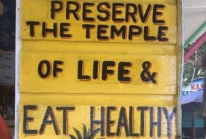 Eat Healthy sign in Kingston, Jamaica.