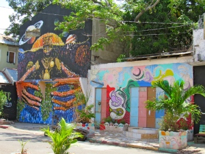 murals in downtown Kingston, Jamaica.