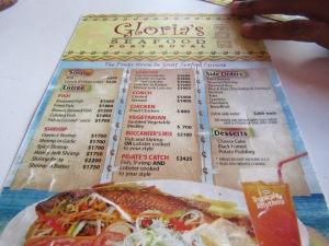 Menu at Gloria's Restaurant in Port Royal, Jamaica.